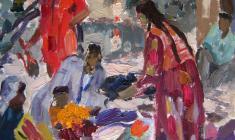 Валентина Монахова. Отдых в старом Самарканде. Карт.м.,32,5х24,5. 1957