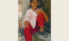 Валентина Монахова. Узбекская девочка с кувшином. Х.м.,57х37. 1956