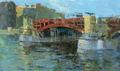 Nikolay Mukho. Construction of Bridge over Neva. Oil on cardboard, 28,5х40,5. 1959