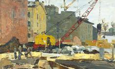 Nikolay Mukho. Construction of  Embankment in Leningrad. Oil on cardboard, 35х50. 1964