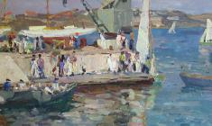 Nikolay Mukho. In Sevastopol. Oil on cardboard, 35х50. 1961