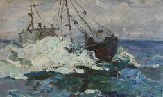 Николай Мухо. На море. Карт.м.,27,5х44. 1962