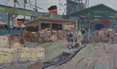 Nikolay Mukho. Fish Seaport in Murmansk. Oil on cardboard, 35х49,5. 1962
