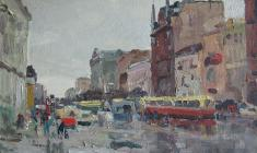Nikolay Mukho. Ligovsky Prospect in Leningrad. Oil on cardboard, ,35х50. 1966