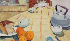 Vera Nazina. Breakfast. Tempera on cardboard, 54х68. 1961