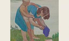 Михаил Натаревич. Вечерний туалет. Карт.темп.,50х49,5. 1962
