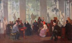 Mikhail Natarevich. Lenin Visits the First Working Sanatorium in Petrograd. Oil on canvas, 46,5х75. 1946