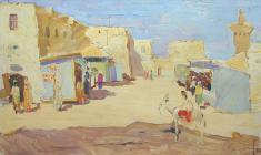 Alexander Naumov. Bukhara. Oil on cardboard, 48,5х78. 1967