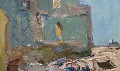 Alexander Naumov. Samarkand. Market-place. Oil on cardboard,35х24. 1964