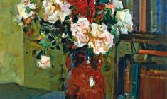 Samuil Nevelstein. Roses. Oil on canvas, 57х47,5. 1956