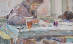 Самуил Невельштейн. За домашним заданием (портрет жены). Бум.,акв.,32,7х25,75. 1928
