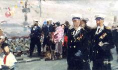 Anatoly Nenartovich. The National Holiday of the Navy in Leningrad. Oil on cardboard,16,8х34,8. 1956