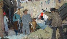 Anatoly Nenartovich. Восстановление дома. Oil on cardboard, 11,4х16,5. 1959