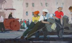 Anatoly Nenartovich. Asphalt Laying Women. Oil on cardboard, 21,2х48,2. 1959