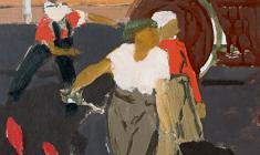 Anatoly Nenartovich. Asphalt Laying Women. Oil on cardboard, 25,8х29,5. 1959