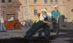 Anatoly Nenartovich. Asphalt Laying Women in Leningrad. Oil on cardboard,17,7х40,7. 1959