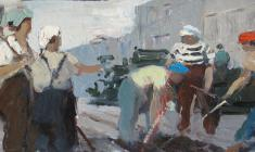 Anatoly Nenartovich. Asphalt on the Street. Oil on cardboard, 16х35,5. 1959