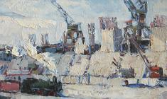 Anatoly Nenartovich. Construction of a Hydroelectric Power Station. Oil on cardboard, 16,3х40,5. 1957