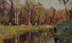 Anatoly Nenartovich. In the Park. Oil on cardboard, 18,5х20,3. 1952