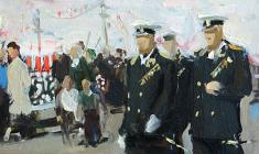 Anatoly Nenartovich. The National Holiday of the Navy in Leningrad. Oil on cardboard, 14,5х27. 1956