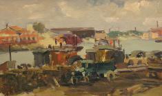 Anatoly Nenartovich. On the Neva. Oil on cardboard, 20,3х32,7. 1949