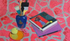 Anatoly Nenartovich. Still-life with a Red Material. Oil on canvas, 60х80. 1979