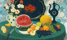 Anatoly Nenartovich. Stil-life with Water-Melon. Oil on canvas, 80х100. 1981