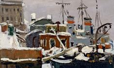 Anatoly Nenartovich. Winter Ship Camo on th Neva River. Oil on cardboard, 14,5х20,5. 1949