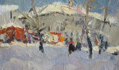 Dmitry Oboznenko. Winter. Oil on cardboard, 12х17. 1955