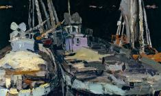 Vladimir Ovchinnikov. Boats at Night. Oil on canvas, 51,5х41. 1958