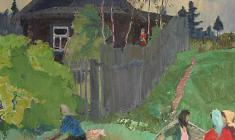Vladimir Ovchinnikov. Country Street. Oil on canvas, 70х60. 1967