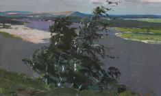 Vladimir Ovchinnikov. Dnieper. Oil on cardboard, 32х48. 1954