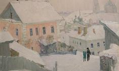Vladimir Ovchinnikov. In the ancient city of Staritsa. Oil on canvas, 60х70. 1974