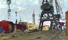 Vladimir Ovchinnikov. In the Port. Oil on cardboard, 35х50. 1955