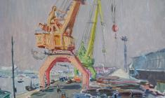 Vladimir Ovchinnikov. In the Port. Oil on cardboard, 35х50. 1956
