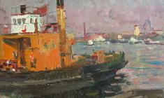 Vladimir Ovchinnikov. In the Seaport.Oil on cardboard, 35,2х50,4.,1955