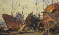 Vladimir Ovchinnikov. Repair of Ships. Oil on cardboard, 34х48. 1956