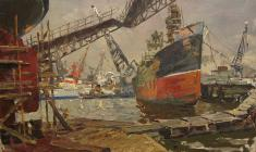 Vladimir Ovchinnikov. Kanonerskaya Shipyard in Leningrad. Oil on canvas, 60х100. 1964