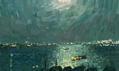 Vladimir Ovchinnikov. Moonlit Night on the Volga. Oil on canvas,60х70. 1975
