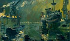 Vladimir Ovchinnikov. Night Dock. Oil on canvas, 62х92. 1959
