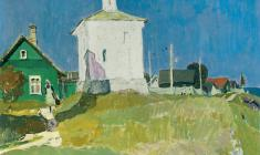 Vladimir Ovchinnikov. Temple Georgiya Pobedonostsa on a Clear Day. Oil on canvas, 60х70. 1972