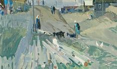 Vladimir Ovchinnikov. Street in Pristanniye.  Oil on canvas, 60х70. 1966
