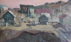 Vladimir Ovchinnikov. Village Pristannoye. Oil on cardboard, 33х47,5. 1958