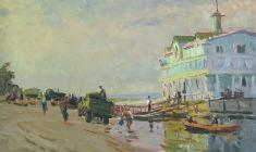 Vladimir Ovchinnikov. Pier in Kanev. Oil on cardboard, 35х50. 1957