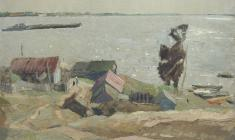 Vladimir Ovchinnikov. Windy day on the Volga. Oil on canvas, 69х84. 1970