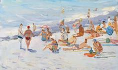 Lev Orekhov. Beach. Oil on cardboard, 35х48. 1959