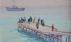 Lev Orekhov. Gurzuf. Pier. Oil on cardboard, 34х48. 1961