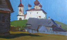 Sergei Osipov. Ancient Pskov. Oil on cardboard, 33х48.,1962