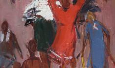 Sergei Osipov.  Haymaking Time. Этюд к картине. Oil on cardboard, 48,5х35. 1963