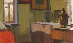 Sergei Osipov.  Interior. Oil on cardboard, 47,4х34,4. 1962